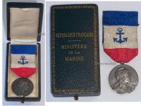France Merchant Navy Medal 1st Type in Silver by the Paris Mint Named to P.E. Pay 1910 Boxed