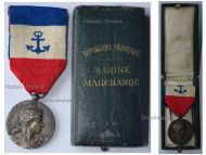France Mercantile Merchant Marine Navy Medal WWI 1910 French Decoration NAMED to LEVERN G-M Boxed