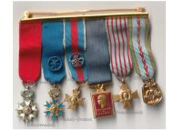 France WW2 Set of 6 Medals of the French Air Force (Orders of the Legion of Honor, Nation Order of Merit, Military Merit, Aeronautical Medal) MINI