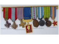 France WW2 Set of 8 Medals of the French Air Force (War Cross, Aeronautical, Indochina, Wound Medal) MINI