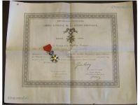 France Order Legion Honor Knight's Cross Captain Artillery Diploma 1879 Military Medal Franco Prussian War 1870