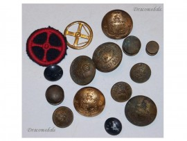 France WW2 Buttons set Insignia Army Air Force Fire Fighter Free French 1940 1945 Armée de l'Air