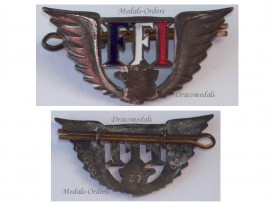 France WW2 Free French Wings FFI Insignia pin cap badge 1940 1944 Resistance Decoration Maquis LOW NUMBERED #37
