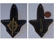 France Military Readiness Badge on Leather Fob French Army by Drago Paris 1950s