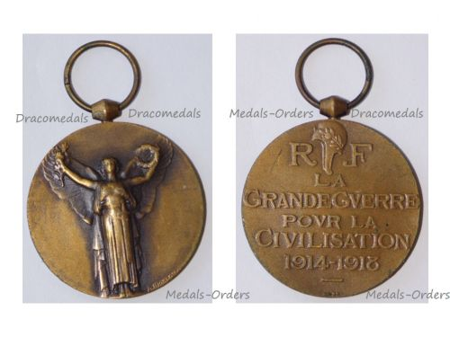 France WW1 Victory Interallied Medal by Morlon Laslo Official Type