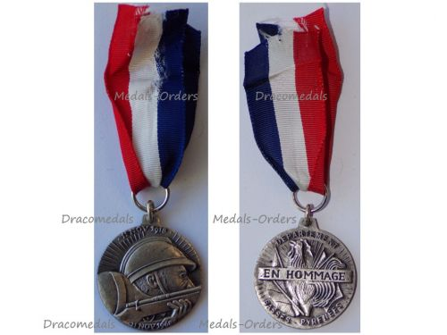 France WW1 Great War Armistice Day Medal 50th Anniversary 1918 1968 Department of Basses-Pyrenees