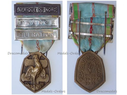 France WW2 Commemorative Medal 1939 1945 with 3 Clasps (France, Liberation, North Africa) by the Paris Mint