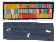 France WW2 Ribbon Bar of 9 Medals (Orders Nichan Iftikhar & Ouissam Alaouite, Valor & Discipline, Colonial, Wound & North Africa Medals, War & Combatants Cross)