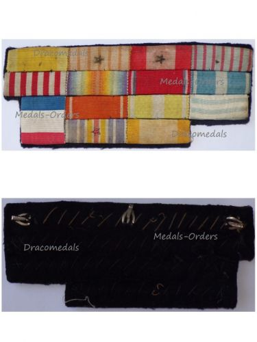 France WW1 14 Medal Ribbon Bar (Order Cambodia, Ouissam Alaouite, Victory, Colonial, Wound, Levant Medal, War Cross)