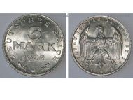 Germany 3 Mark Coin 1922 J Constitution Day 11 August 1922 Weimar Republic Inflation Period Alluminium