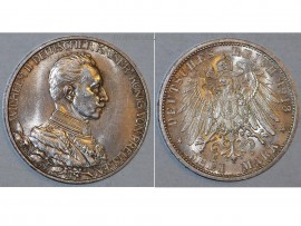 Germany 3 Mark Coin 1913 A Prussia German Empire 25th Anniversary Kaiser Wilhelm II Reign Berlin Mint