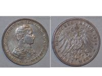 Germany 3 Mark Coin 1914 A Prussia German Empire Kaiser Wilhelm II Berlin Mint
