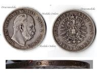 Germany 5 Mark Coin 1876 B Prussia German Empire Kaiser Wilhelm I Hannover Mint