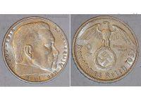 Nazi Germany 2 Mark Coin 1937 F Swastika WWII German Paul Von Hindenburg 3rd Third Reich WW2