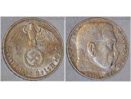Nazi Germany 2 Mark Coin 1939 J Swastika WWII German Paul Von Hindenburg 3rd Third Reich WW2