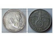 Nazi Germany 2 Mark Coin 1937 D Swastika Paul Von Hindenburg