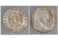 Nazi Germany 5 Mark Coin 1936 A Without Swastika WWII German Paul Von Hindenburg 3rd Third Reich WW2
