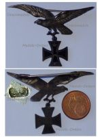 Germany Prussia WW1 German Imperial Flying Corps Patriotic Badge Eagle with Iron Cross Silver 936