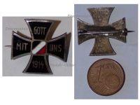 Germany WWI Iron Cross Gott Mit Uns 1914 Patriotic Badge German Colors Great War 1918 Decoration