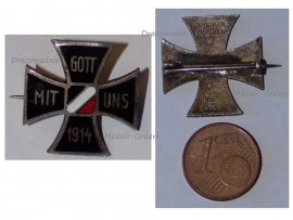 Germany WW1 Iron Cross Gott Mit Uns 1914 Patriotic Badge German Colors Great War 1918 Decoration