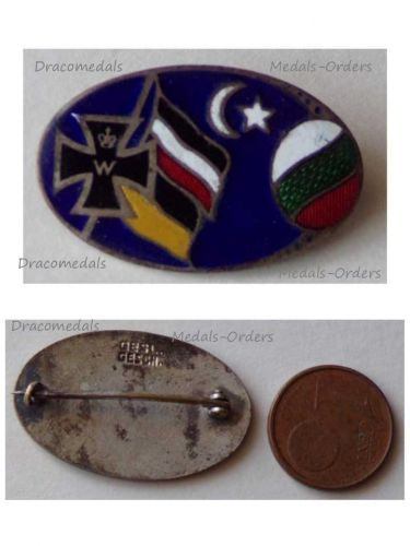 Germany Austria Hungary Bulgaria Ottoman Empire WW1 United Empires Flags Iron Cross Cap Badge Marked Ges Gesch