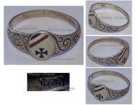 Germany WWI Ring Patriotic Iron Cross EK1 Oval Prussian German Colors Trench Art Silver 800 Great War 1914 1918