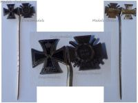 Germany WW1 Iron Cross Hindenburg Cross with Swords 1914 1918 Set Stickpin MINI