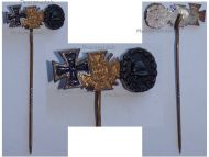 Germany WW1 Black Wound Badge Iron Cross Hindenburg Cross with Swords 1914 1918 Set Stickpin MINI