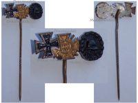 Germany WW1 Black Wound Badge Iron Cross Hindenburg Cross with Swords 1914 1918 Set Stickpin MINI