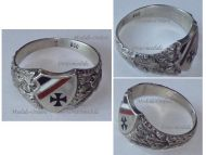 Germany WW1 Ring Patriotic Iron Cross EK1 Oak Leaves Prussian Flag Trench Art 1914 German Silver 800 Great War