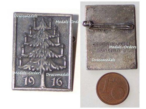 Germany WW1 Christmas Tree 1916 Cap Badge by Deschler