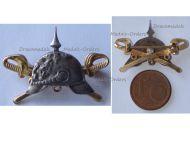 Germany Prussia WW1 Spiked Helmet Crossed Swords Patriotic Badge Silver 925