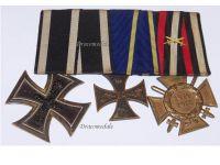 Germany WW1 Set of 3 Medals (Ernst August Cross 2nd Class, Iron Cross 2nd Class, Hindenburg Cross)