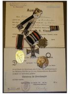 Germany WW1 Bavaria Iron Cross EK2 Hindenburg 5 Military Medals set 2 Diplomas Bavarian WWI 1914 1918