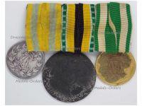 Germany WW1 War Merit Medal 1915 Combatants Zinc Saxe Meiningen Friedrich Saxony August Silver Long Military Service 1st Class Set