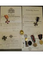 Germany WWI Hanseatic Hamburg Iron Cross Infantry NCO set EK1 Military medals 1914 1918 Diploma German