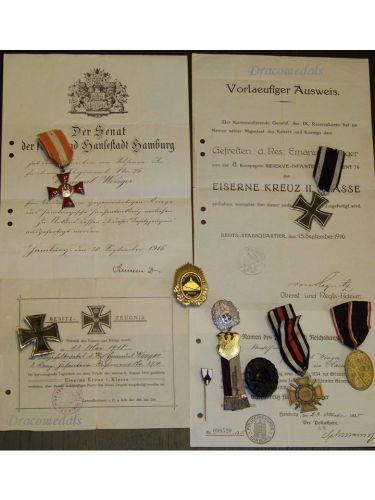 Germany WWI Hanseatic Hamburg Iron Cross Infantry NCO set EK1 Military medals 1914 1918 Diploma German