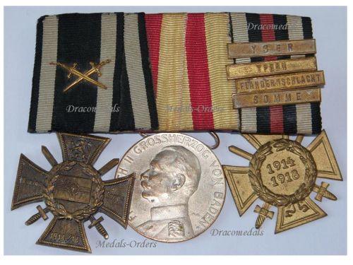Germany Navy WW1 Medal Marine Naval Flanders Cross Hindenburg Baden Merit 4 bars Yser Ypres Somme Offensive set WWI 1914 1918 Great War