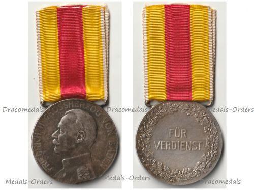 Germany WW1 Baden Silver Merit Medal of Grand Duke Friedrich II 1908 1916 in Silver