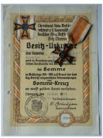 Germany WW1 Somme Cross 1914 1918 1st type by Fleck & Sohn with Diploma to NCO