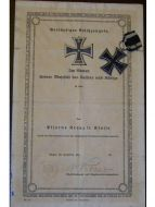 Germany Iron Cross 1914 EK2 Diploma 105th Infantry Division German WW1 Medal Prussia 1918 Great War