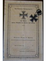 "Germany WW1 Iron Cross 19142nd Class with Diploma to 105th Infantry Division 3rd West Prussian Regiment ""General Field Marshal von Mackensen"" Nr. 129"