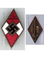 NAZI Germany WW2 Hitler Youth HJ NSDAP Party badge M 1/72 RZM Maker Zimmermann German WWII