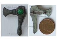 NAZI Germany WW2 Germanic Axe WHW Badge Tinnie Marked W10