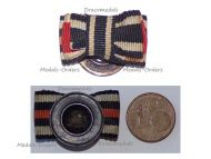 NAZI Germany Croatia Ribbon Lapel Pin Boutonniere 3 Medals (WW1 Iron Cross, Hindenburg Cross, WW2 Order of King Zvonimir)