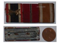 NAZI Germany WW2 Ribbon Bar 3 Medals War Merit Cross with Swords Eastern Front Westwall Medal