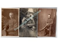 Germany WW1 3 Photos Soldiers Cavalry Horseman Iron Cross Ribbon Bayonet Field Post Postcards Photograph 1914 1918 Great War WWI