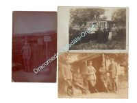 Germany WW1 3 Photos Soldiers Field Post NCO Trenchs Postcards Photograph 1914 1918 Great War WWI