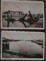 NAZI Germany WW2 2 photos Destroyed Sunk Ships Dunkirk Port photographs France WWII 1939 1945 Photograph