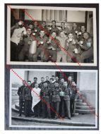 NAZI Germany WW2 2 photos Group German Soldiers Party Swastika photographs WWII 1939 1945 Photograph